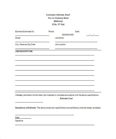 contractor estimate template 26 blank estimate templates pdf doc excel odt free premium templates