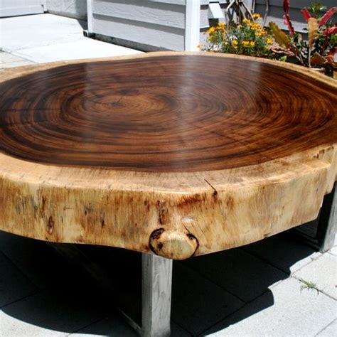 tropical round coffee table custom made tropical live edge round coffee table by the