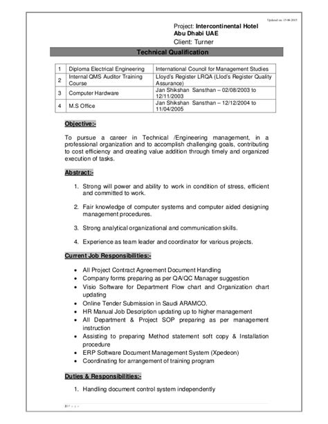 Release Project Manager Resume by Cv Abdul Mannan Document Controller Qa Qc