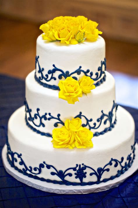 Royal Blue And Yellow Wedding Cake Design Blue And Yellow