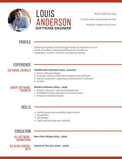 Picture Resume by Customize 67 Professional Resume Templates Canva