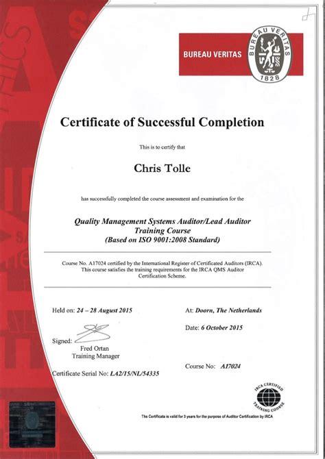 bureau veritas courses ctolle lead auditor certificate
