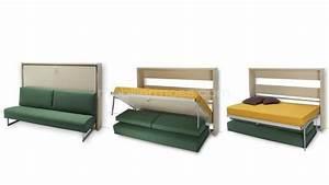 Canapé Lit Petit Espace : lit canape modulable escamotable plianble moderne petit espace mobilier moss ouvert 3 etape ~ Voncanada.com Idées de Décoration