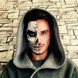 Maquillage Squelette Facile : maquillage visage squelette homme russenko maquillage ~ Dode.kayakingforconservation.com Idées de Décoration