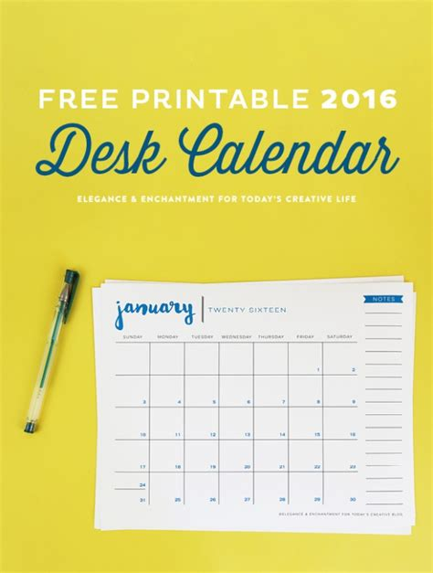 printable  desk calendar todays creative life