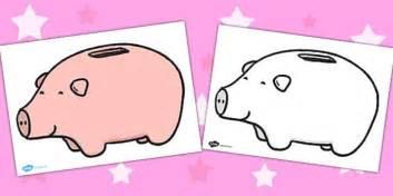 Plain Piggy Bank Worksheet / Activity Sheet