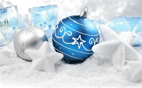 blue  silver christmas balls stars ribbon widescreen