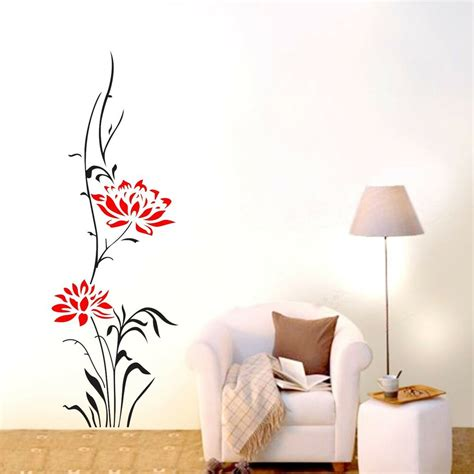 wall stickers home decor large lotus flower wall stickers removable decals home