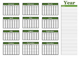 yearly blank calendar template printable blank