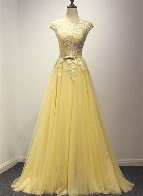 pretty yellow tulle party dress yellow formal dress prom