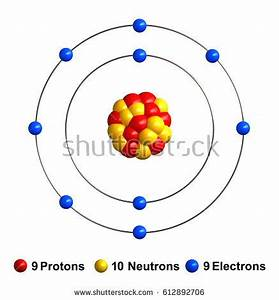 3 D Render Atom Structure Fluorine Isolated Stock