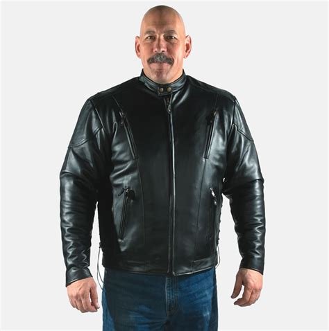 Cowhide Jackets by Cowhide Leather Jacket Vented W Side Laces Bikers Gear