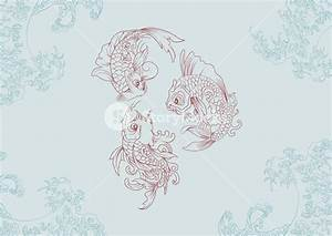 Vector Japanese Background With Koi Fish Royalty-Free ...