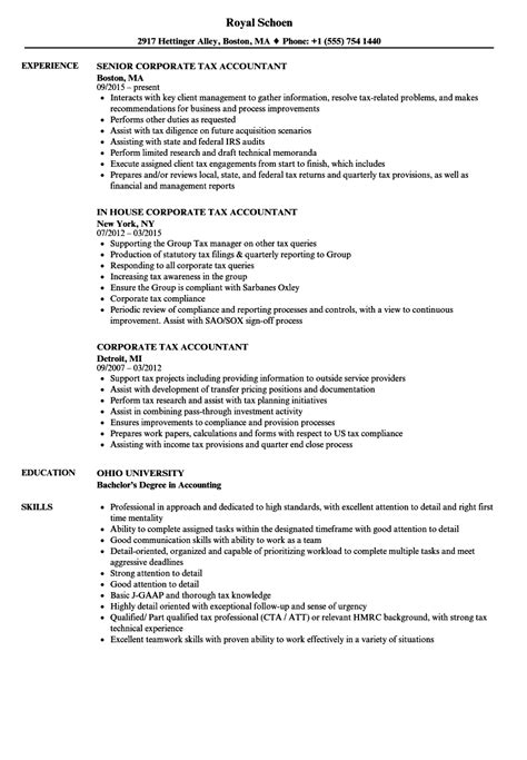 Tax Accountant Resume by Corporate Tax Accountant Resume Sles Velvet