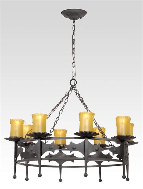 iron 8 light fixture w mission style motif 69814 b p