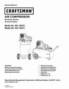 Craftsman Air Compressor 921 16474 User Guide