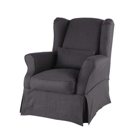 housse de fauteuil en lin anthracite cottage maisons du