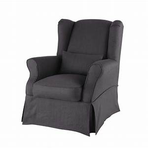 Housse De Fauteuil : housse de fauteuil en lin anthracite cottage maisons du monde ~ Teatrodelosmanantiales.com Idées de Décoration