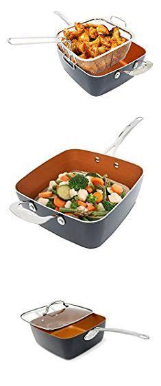hsn cookware sets  pan square deep frying steel lid ceramic cooking titanium copper  set