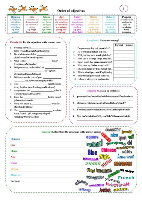 order  adjectives  worksheet  esl printable