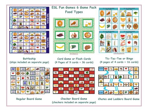 Food Types 6 Board Game Bundle By Eslfungames