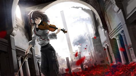 Violin Wallpaper Anime - anime anime violin headphones leaves