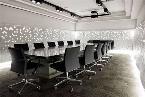 Interior, Amazing Office Meeting Room Design With Contemporary Large Conference Table In Black