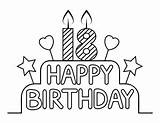 Coloring Pages Birthday 18th Cake Printable sketch template