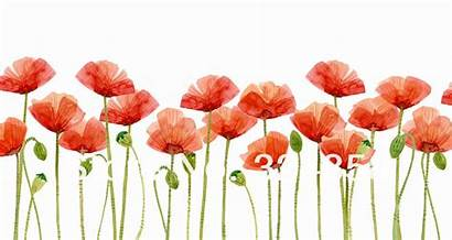 Watercolor Poppies Flower Clipart Painting Modern Wall