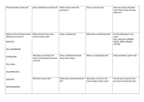 cells and specialised cells a3 revision worksheet by lh318