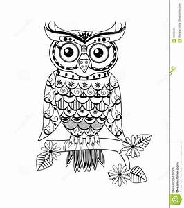 Zentangle Owl Black And White Stock Illustration - Image ...