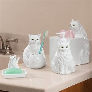 playful cat bathroom accessories set of 4 soap dish With cat bathroom set