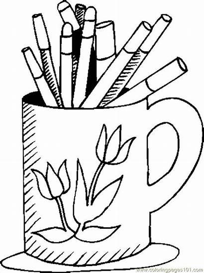 Marker Coloring Markers Pages Mug Supplies Printable