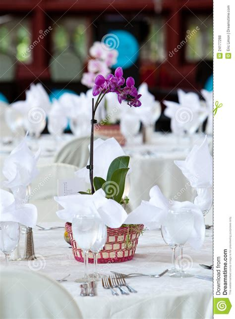 orchid centerpiece  wedding tables royalty  stock