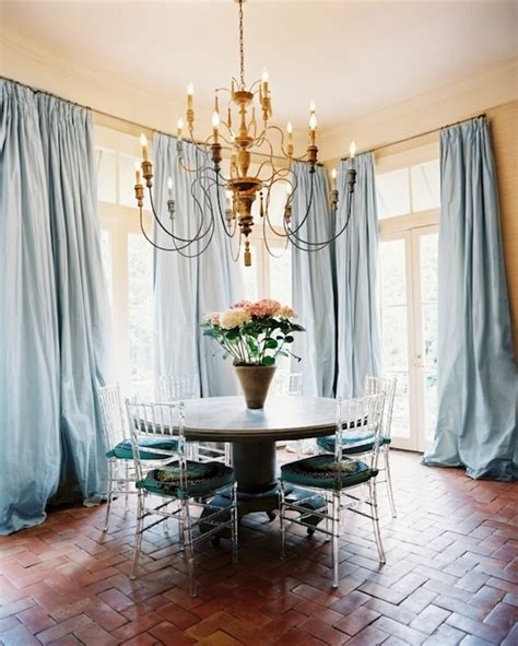 Blue Draperies - blue curtains eclectic dining room lonny magazine