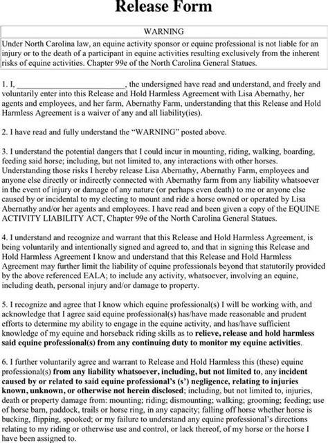 north carolina riding liability release form