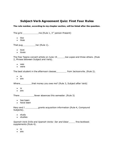 subject verb agreement quiz   templates