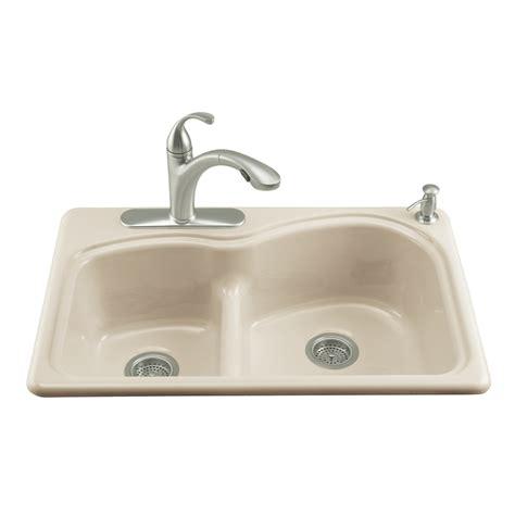 cast iron kitchen sink shop kohler woodfield basin drop in enameled cast 5133