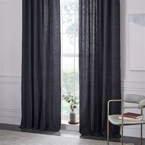 textured cotton jacquard curtain slate west elm
