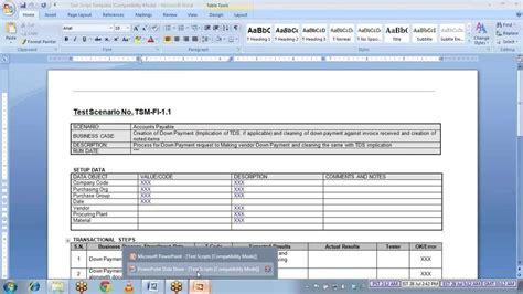 test script template sap test script