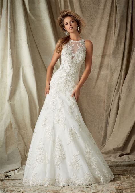 Lace Appliques On Tulle Wedding Dress Style 1323 Morilee