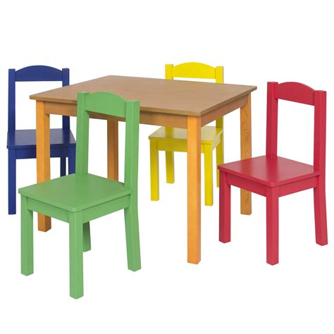 childrens table l kids wooden table and 4 chair set furniture primary natural ebay