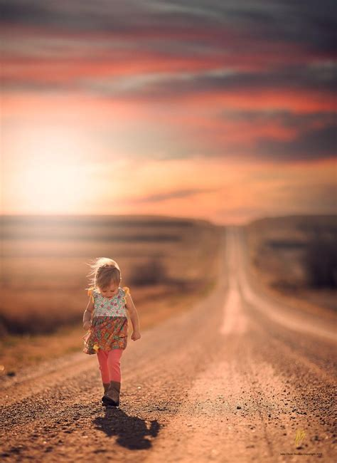 Little Girl Wandering Down Country Road Where Are Her