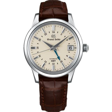 grand seiko automatic gmt leather strap mens