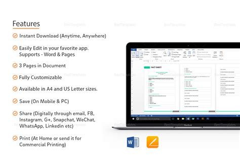 Business Fact Sheet Template In Word, Google Docs, Apple Pages