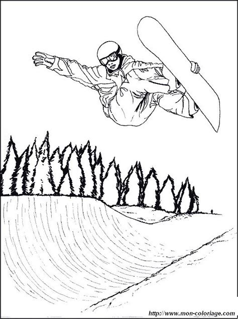 coloriage de sport dessin snowboard saut  colorier