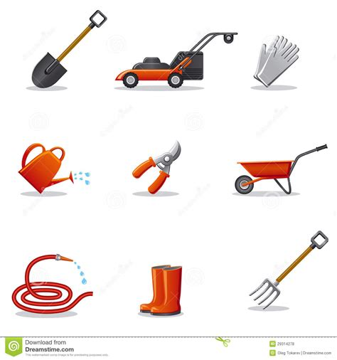 different tools in gardening garden tools icon set royalty free stock photos image 29314278