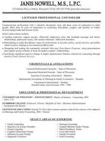 licensed professional counselor curriculum vitae resume exles