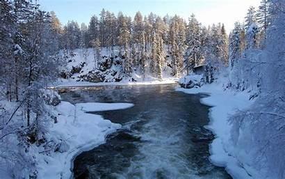 Winter River Wallpapers Speeding Desktop Nature Tree
