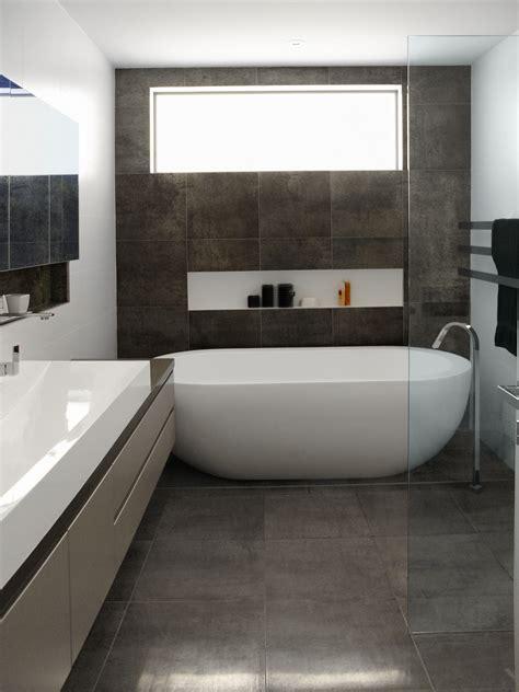 modern bathroom floor tile ideas nice oval freestanding soaker bathtubs on grey tile floors also single vessel sink vanity bath
